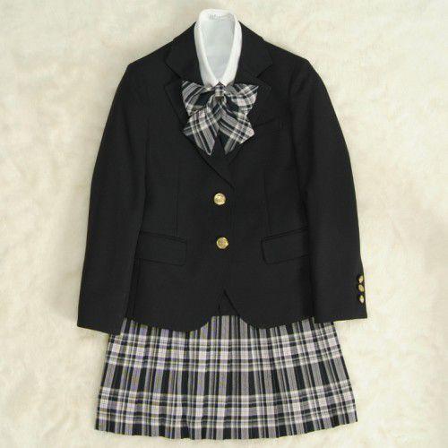 アウトレット 女児ジュニアフォーマルスーツ5点セット 濃紺 二つ釦 ロングニットベスト付き スカート黒グレーピンクラインチェック 165cm