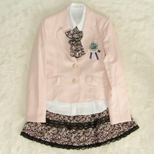 アウトレット 女児ジュニアフォーマルスーツ5点セット 淡ピンク ゴールド二つ釦 スカート花柄レース使い 165cm