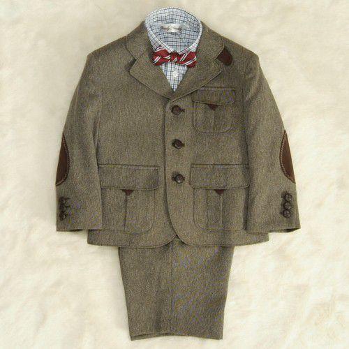 アウトレット 男の子スーツ4点セット 茶色 シャツカラーチェック 三つ釦タイプ ハーフパンツセット 100cm