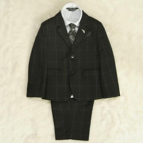 アウトレット 男の子スーツ5点セット 100cm〜130cm チャコール シャツカラー白 二つ釦タイプ チェックハーフパンツ ミチコロンドン