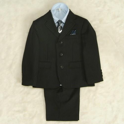 アウトレット 男の子スーツ5点セット 100cm〜130cm チャコールグレー シャツカラーブルー 三つ釦タイプ ハーフパンツセット