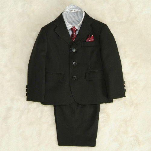 アウトレット 男の子スーツ5点セット チャコールグレー シャツカラーストライプ 三つ釦タイプ ハーフパンツセット 110cm