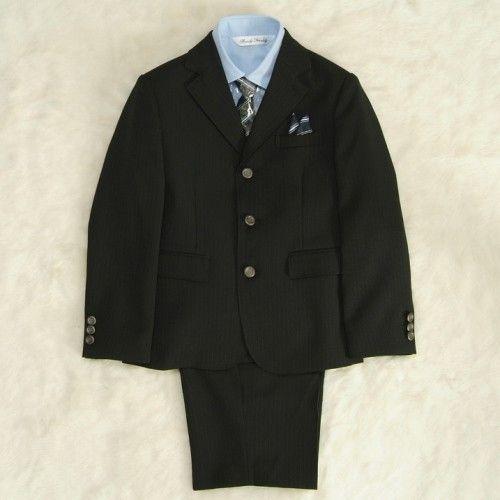 アウトレット 男の子スーツ5点セット チャコールグレー シャツカラーブルー 三つ釦タイプ ハーフパンツセット 110cm