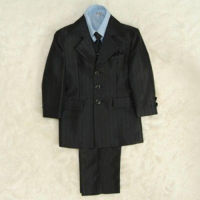 アウトレット 男の子スーツ6点セット 濃チャコールグレー シャツブルー 三つ釦タイプ ロングパンツセット マジックテープタイプベストシャツ付 110cm