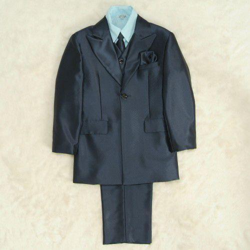 アウトレット 男児スーツ6点セット ネイビー シャツブルー 一つ釦ロングジャケット ロングパンツ マジックテープタイプベスト及びシャツ付 120cm