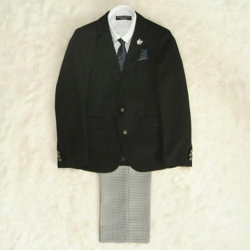 アウトレット 男の子ジュニアスーツ5点セット チャコール 釦ダウンシャツ白 二つ釦 千鳥格子パンツタイプ 140cm ミチコロンドン