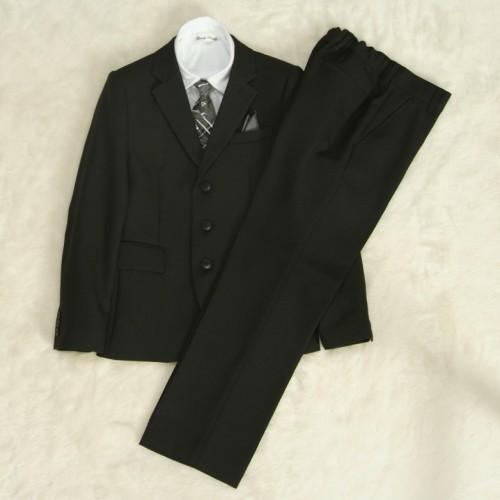 アウトレット 男の子ジュニアフォーマルスーツ5点セット 140cm〜165cm 黒地 シャツカラー白 三つ釦 ロングパンツ