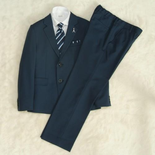 アウトレット 男の子ジュニアフォーマルスーツ5点セット 140cm〜165cm ブルー シャツカラー白 二つ釦 ロングパンツ ヨーロピアンスタイル