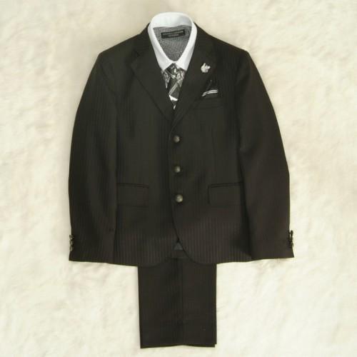 アウトレット 男の子ジュニアスーツ5点セット チャコールグレー クレリックタイプチェックシャツ 三つ釦タイプ 150cm ミチコロンドン
