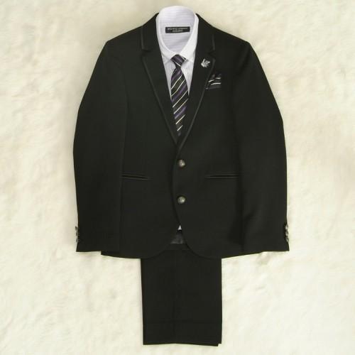 アウトレット 男の子ジュニアフォーマルスーツ5点セット チャコール パープルストライプシャツ 二つ釦 ロングパンツタイプ 150cm ミチコロンドン