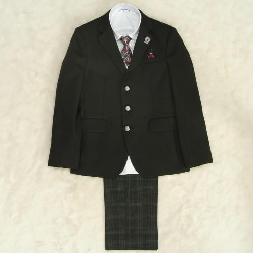 アウトレット 男の子ジュニアスーツ5点セット チャコールグレー 白シャツ ロングパンツ 160cm JFAオフィシャル仕様