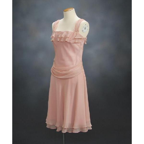 フォーマルドレス アウトレット品 ミドル丈 ピンク サイズ13号 結婚式 二次会 パーティー 同窓会にも最適