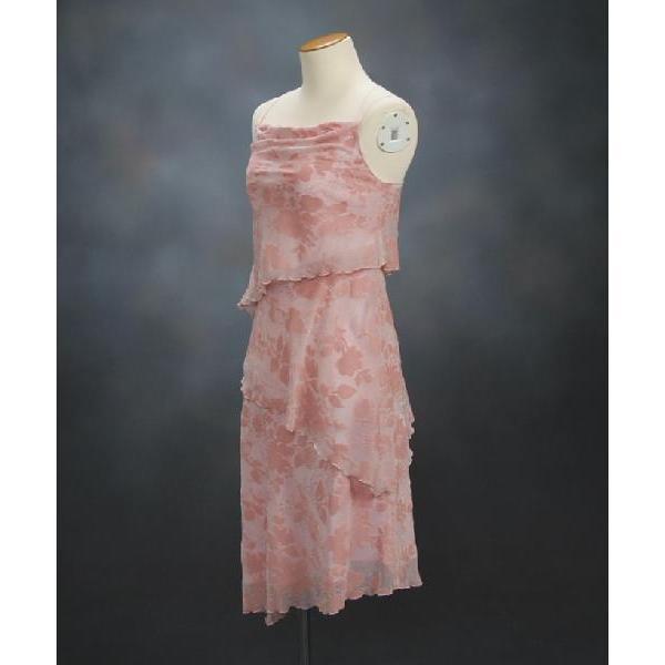 フォーマルドレス アウトレット品 ミドル丈 ピンク サイズ9号 結婚式 二次会 パーティー 同窓会にも最適