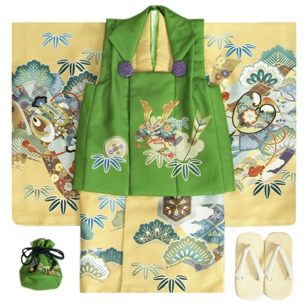 七五三 男の子 3歳 被布着物セット 黄土色地 絵羽柄 被布緑色 白半襟に足袋付きセット 日本製
