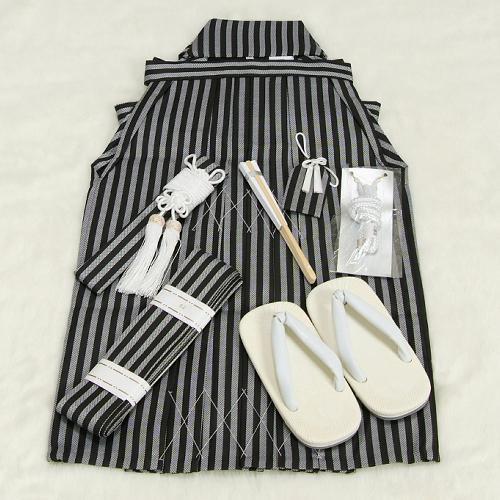 七五三男児袴セット 黒グレーストライプ 三歳用 52cm 七点セット へら付き