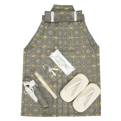 七五三 着物 男の子 男児袴セット グレー 金華紋柄袴 3歳から5歳用 55cm 七点セット へら付き