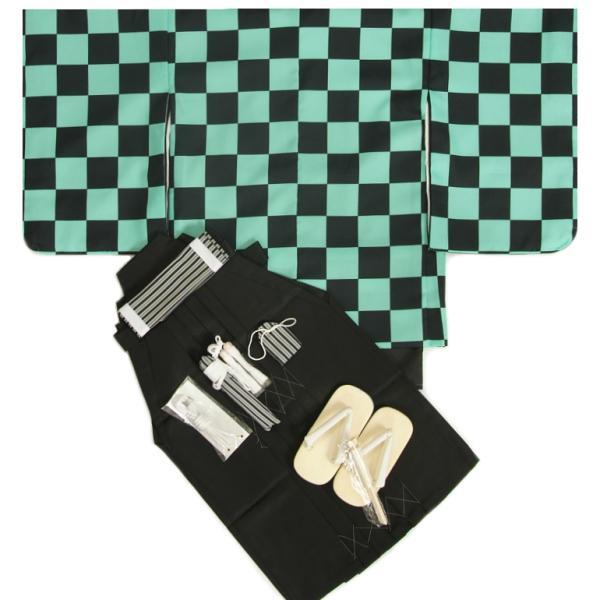 七五三 着物 男の子袴セット 5歳 黒緑市松柄羽織 黒無地袴 12点セット 足袋付きセット