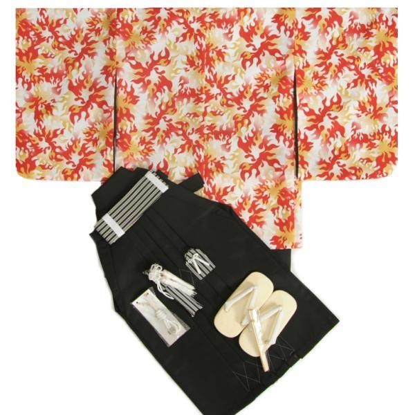 七五三 着物 男の子袴セット 5歳  黄色橙赤焔柄 炎文様柄羽織 黒無地袴 12点セット 足袋付きセット
