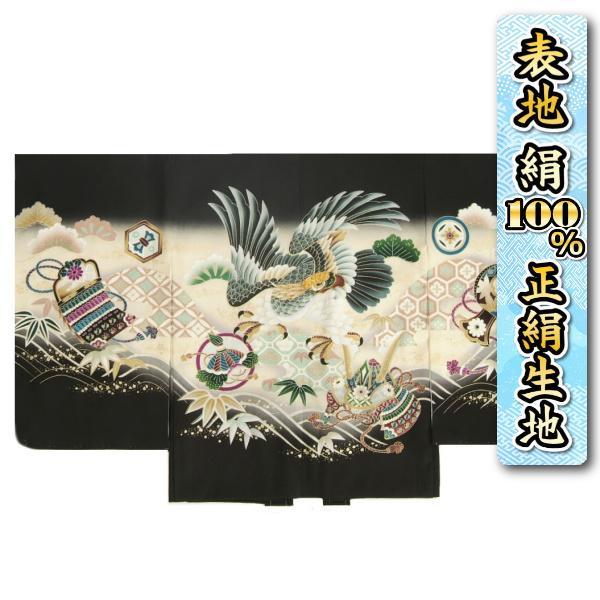 七五三 5歳 男の子 正絹 羽織単品 鷹に兜 黒地 刺繍使い 金彩 サヤ地紋 日本製
