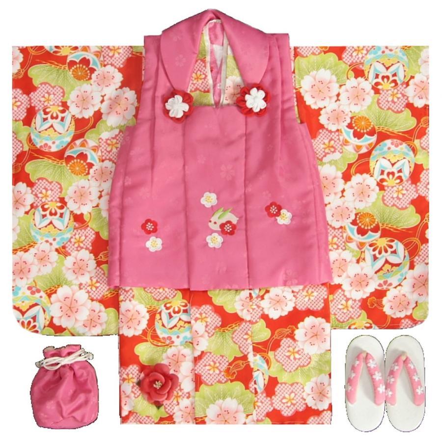 七五三 着物 3歳 女の子 被布セット 小町kids(小町キッズ)ブランド 赤地色着物 被布チェリーピンク 刺繍使い 八重桜 刺繍半衿に足袋付きフルセット