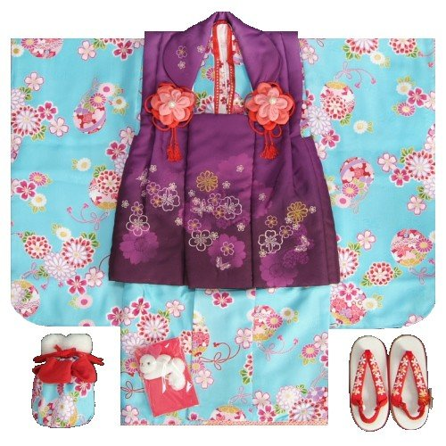 七五三 着物 3歳 女の子 被布セット リョウコキクチ 濃水色地 被布紫色刺繍使い 雛祭り お正月 足袋に腰紐付きの13点フルセット