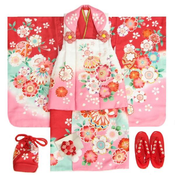 七五三 着物 3歳 女の子 被布セット 京都花ひめ 絵羽柄 赤地色 被布白赤色染め分け 桜柄 刺繍半衿に足袋付きセット
