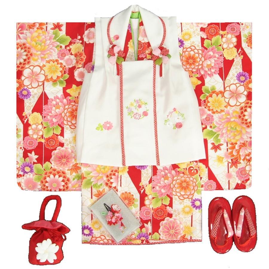 七五三 着物 3歳 女の子 被布セット 京都花ひめブランド 矢絣文様 赤色 被布白色 華珠刺繍 足袋付セット 日本製