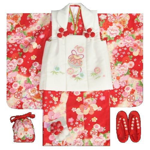 七五三 着物 3歳 女の子 被布セット 京都花ひめ 赤地ベージュぼかし着物 被布白刺繍使い 捻り梅 鈴 足袋付き11点フルセット