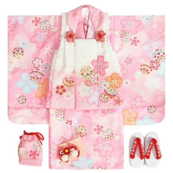 七五三着物 3歳 女の子被布セット かわいいなブランド ピンク 被布紅白染め分け 桜尽くし 金彩蝶 刺繍半衿に足袋の付いたフルセット