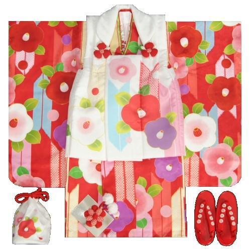 七五三 着物 3歳女の子被布セット 京都花ひめ 光琳椿 赤地着物 被布白 二段重ね衿 刺繍半衿に足袋付きフルセット
