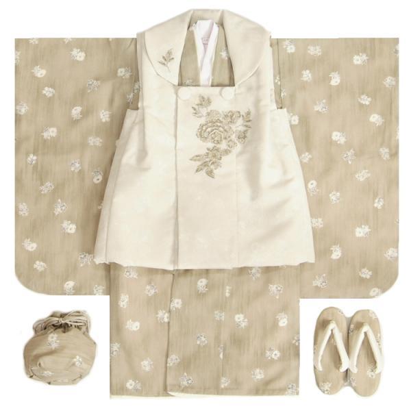 七五三 着物 3歳 女の子被布セット JILLSTUART ジルスチュアート オフホワイト着物 青紫華 花唐草文様 刺繍使い 足袋付セット 日本製