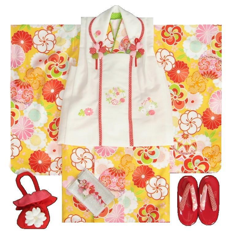 七五三 着物 3歳 女の子被布セット マユミブランド 山吹色 捻り梅 被布刺繍使い白色 雛祭り 正月 足袋付フルセット