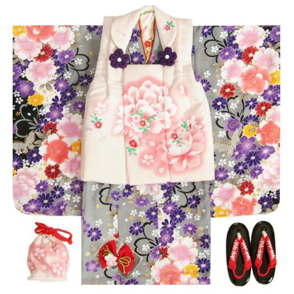 七五三 着物 被布セット 3歳 女の子 マユミ 灰色黒染め分け 被布淡いピンク 刺繍桜 芍薬 足袋付き12点フルセット