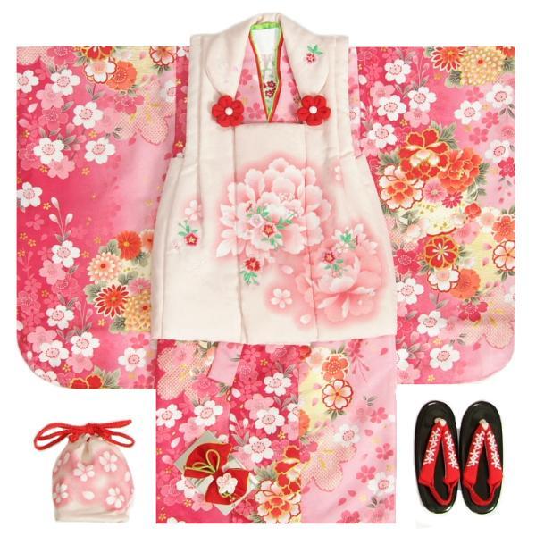 七五三 着物 3歳 被布セット 女の子 マユミブランド 濃淡ピンク地 被布淡いピンク 刺繍桜 芍薬 足袋付き12点フルセット