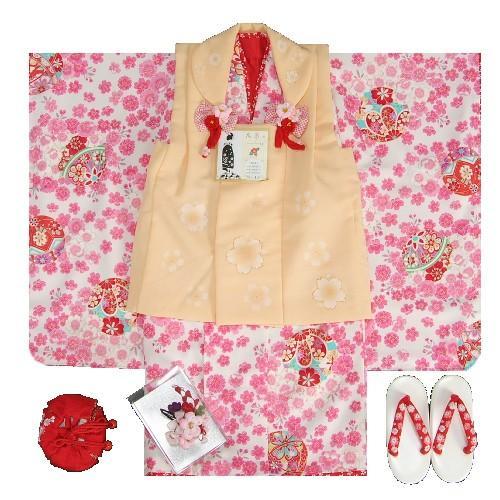 七五三 着物 三歳 女の子 被布セット 花夢二 白地 ピンク 被布オレンジ 桜 金彩 足袋付セット