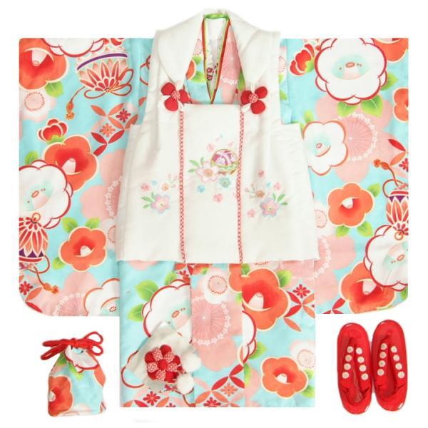 七五三 着物 3歳 女の子被布セット 夢想ブランド 水色 被布ベージュ 桜刺繍 金彩 刺繍半衿付き 足袋付フルセット