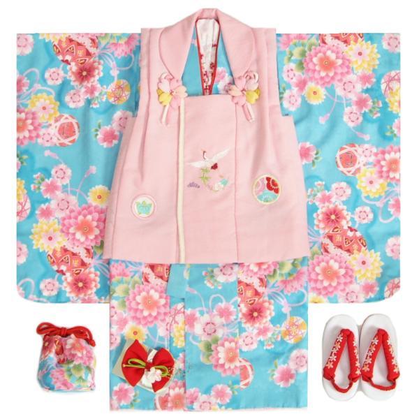 七五三 着物 3歳 女の子被布セット 夢想ブランド 水色 被布式部浪漫ピンク まり刺繍 金彩 刺繍半衿付き 足袋付フルセット