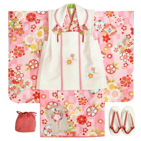 七五三 着物 3歳 女の子被布セット マユミブランド 濃淡ピンク市松グラデーション 桜 金彩使い 被布桜刺繍白色 雛祭り 正月 足袋付フルセット