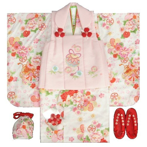 七五三 着物 3歳 女の子 被布セット 京都花ひめ 白色ぼかし着物 被布ピンク刺繍使い 捻り梅 鈴 足袋付き11点フルセット