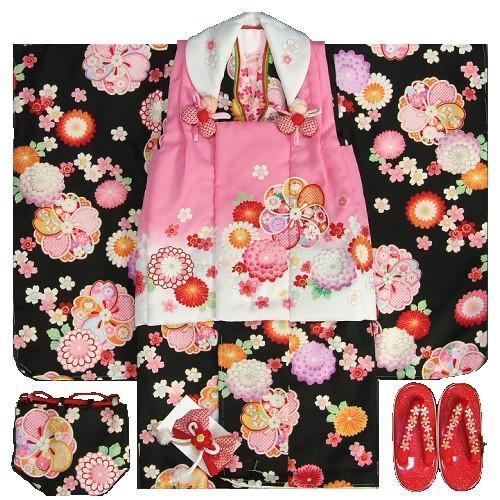 七五三 着物 3歳 女の子被布セット 花うさぎ 黒地 被布ピンク白切替染め分け 牡丹菊 捻り梅 刺繍半衿に足袋付きのフルセット