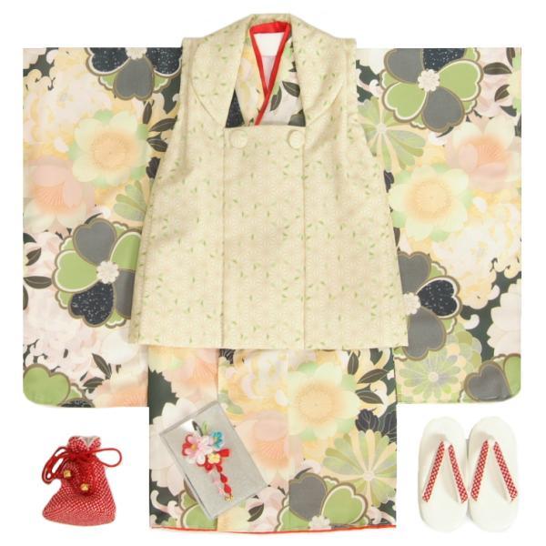 七五三 着物 3歳 女の子 被布セット 式部浪漫KAGURA(かぐら)ブランド 緑 百花 被布黄緑麻の葉柄 雛祭り 正月 足袋付セット 日本製