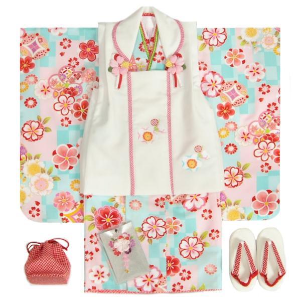 七五三 着物 3歳 女の子 被布セット マユミブランド 濃淡水色市松グラデーション 桜 金彩使い 被布桜刺繍白色 足袋付セット