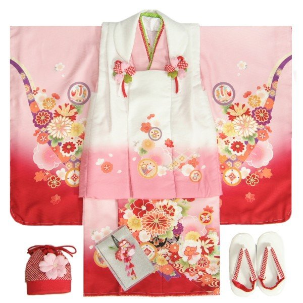 七五三 着物 3歳 女の子 被布セット マユミブランド 濃淡ピンク染め分け着物 被布白地 絵羽文様 刺繍半衿に足袋付きセット 日本製