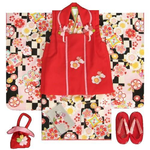 七五三 着物 3歳 女の子 被布セット マユミブランド 黒ベージュピンク市松グラデーション 桜 金彩使い 被布桜刺繍赤色 雛祭り 正月 足袋付フルセット