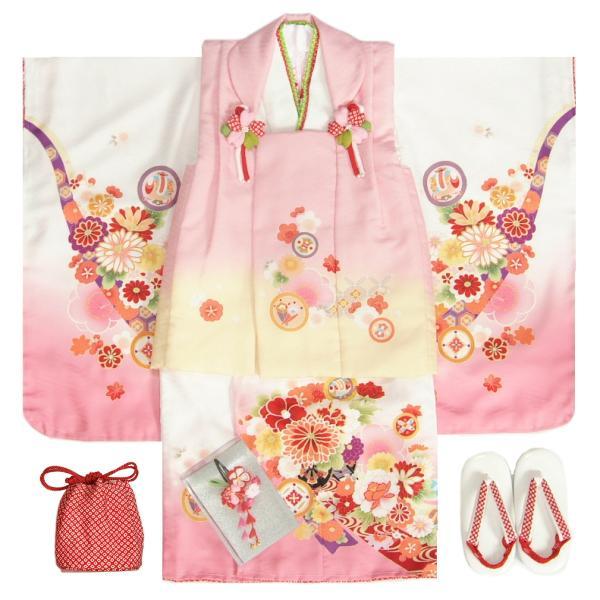 七五三 着物 3歳 女の子 被布セット マユミブランド 白地ピンク染め分け着物 被布淡ピンク 絵羽文様 刺繍半衿に足袋付きセット 日本製