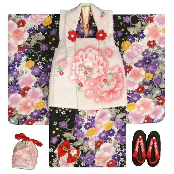 七五三 着物 3歳 女の子 被布セット マユミ 黒グレーグラデーション 被布淡いピンク 刺繍桜 芍薬 足袋付き12点フルセット