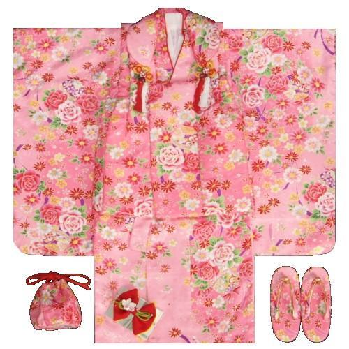 七五三着物 3歳 女の子被布セット ピンク色 薔薇 牡丹 地紋生地 足袋付きセット
