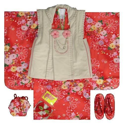 七五三 着物 3歳 女の子 被布セット マユミ 赤地 被布ベージュフリルタイプ パール飾り付き 刺繍半衿に足袋も付いたフルセット