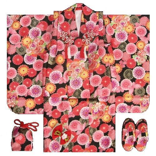 七五三着物 三歳女の子被布セット 黒 牡丹菊 地紋生地 足袋付きセット