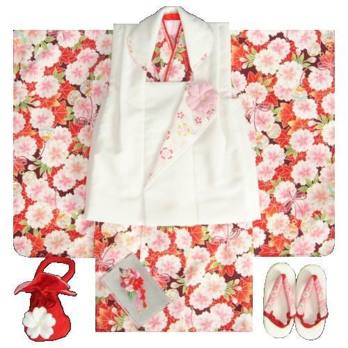 七五三 着物 三歳 女の子 被布セット 京都花ひめブランド 赤紫 被布白 楓 桜 地紋生地 足袋付きセット